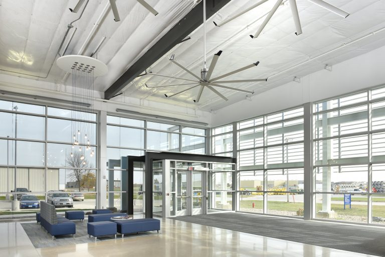 Interior entrance showcasing abundant windows