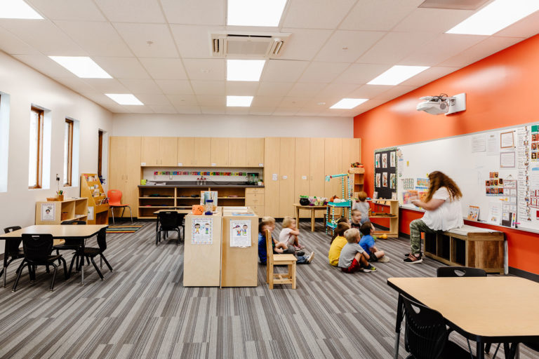 Classroom with orange feature wall