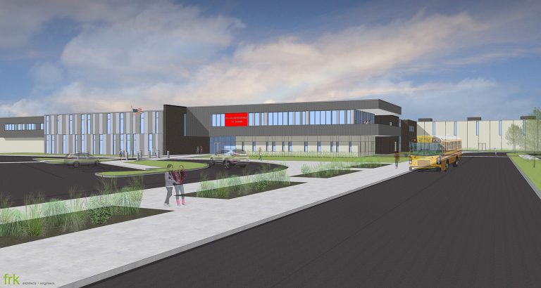Exterior render of main entry and bus dropoff