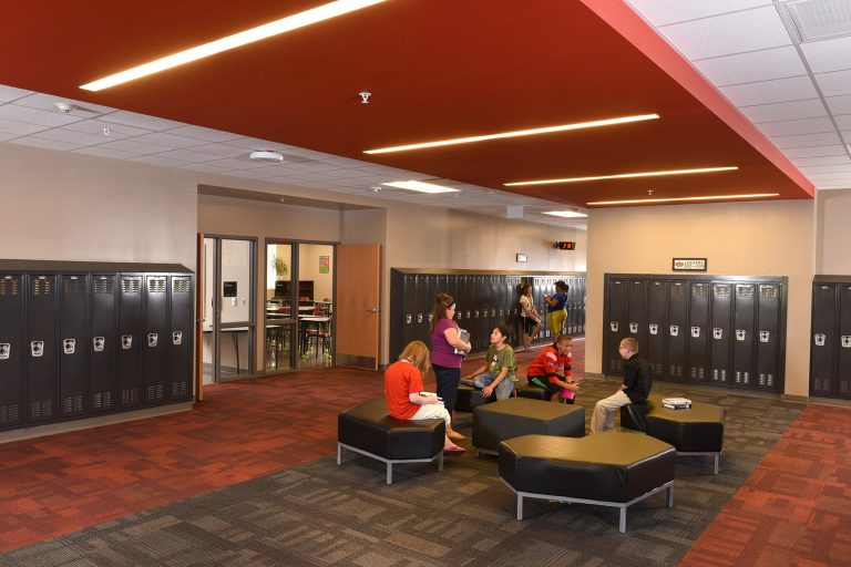 Interior locker commons with soft seating