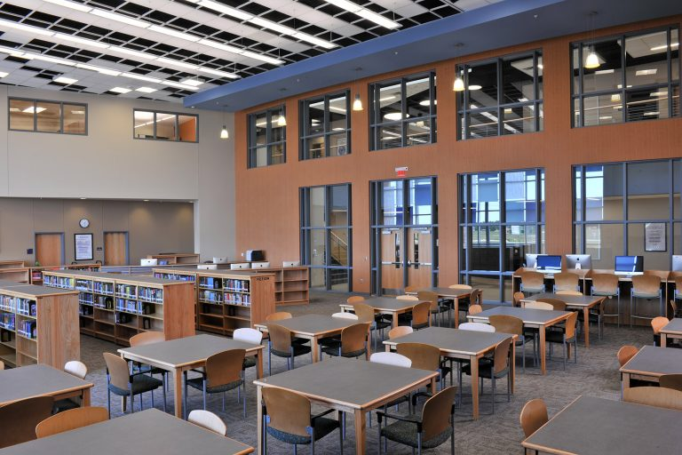 Media center with tall ceiling