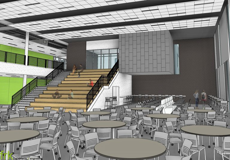 Interior render of commons featuring seating and learning stair