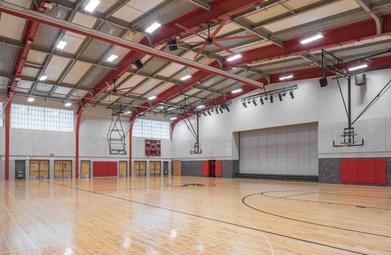 Gymnasium with wood floor