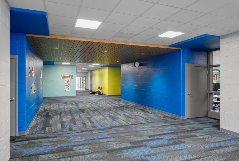 Classroom circulation corridor in vibrant color