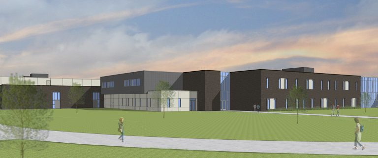 Exterior render of classroom wing
