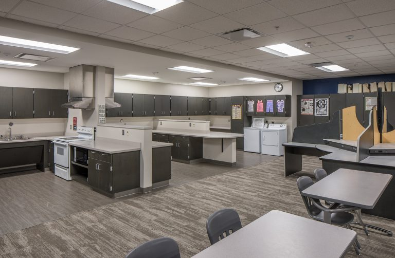 Family consumer sciences classroom with kitchen units