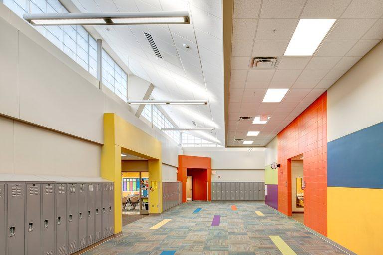 Circulation Corridor showing color palette