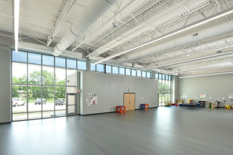 Indoor multipurpose space for play and exercise