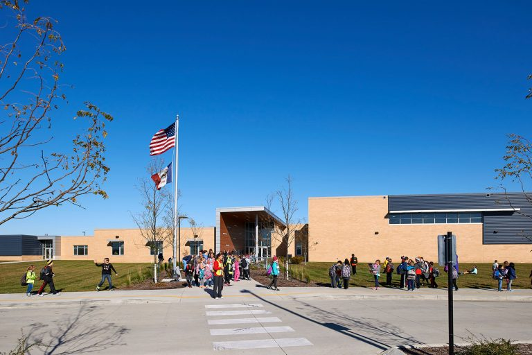 Exterior main entrance with students