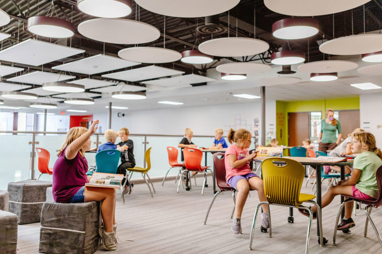 Balcony learning space with circular ceiling clouds