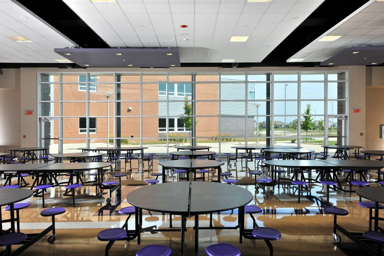 Cafeteria with tables