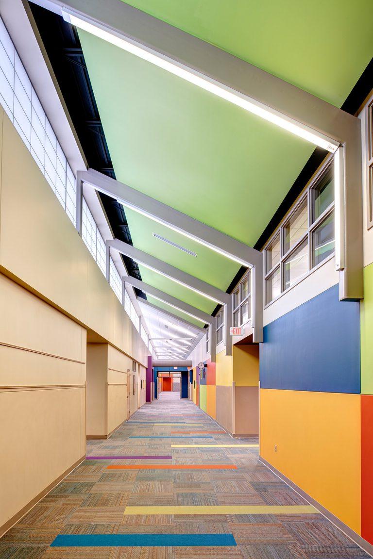Colorful circulation hallway