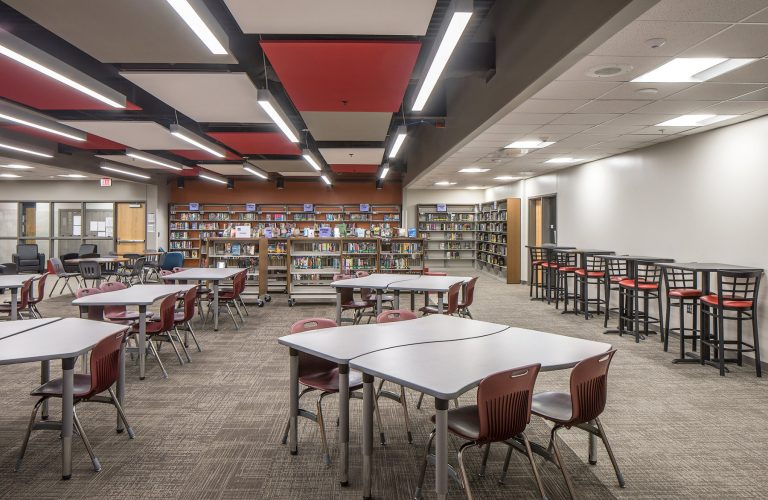 Media center with ceiling features