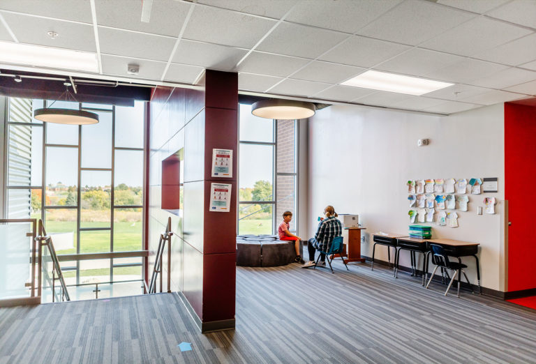 Open learning space and stairs looking outside