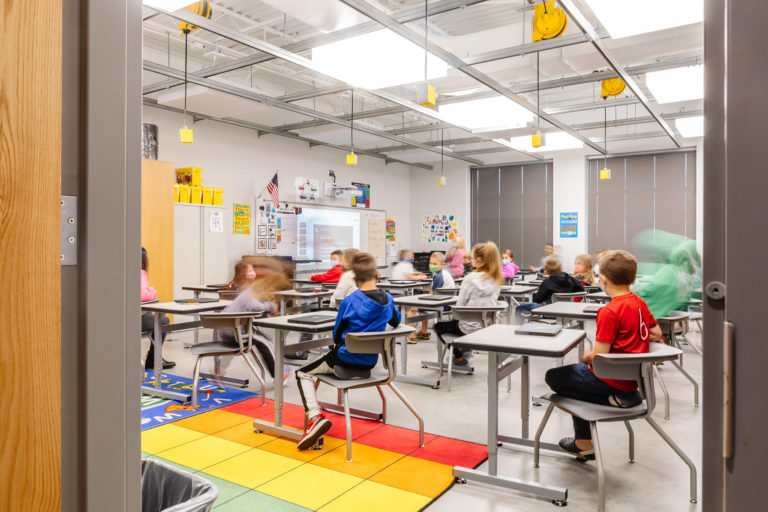 Looking into classroom with students at desks