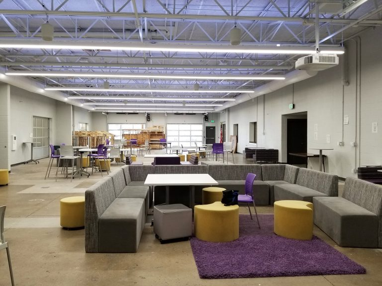 Open work space with flexible seating