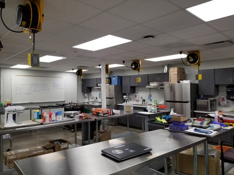 Culinary arts classroom with cooking stations