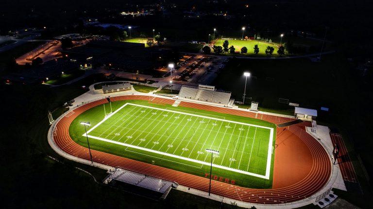 Night drone view of stadium