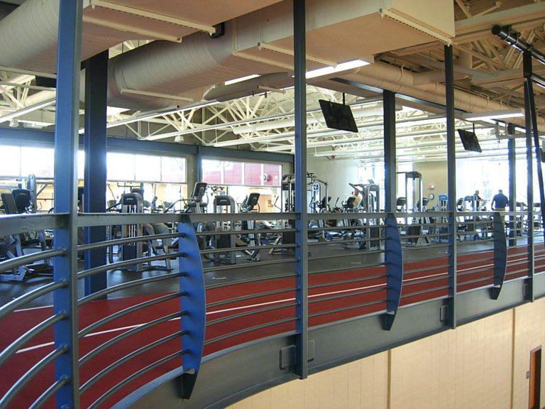 Indoor second-floor track and weightroom.
