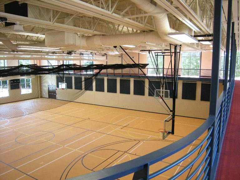Gymnasium basketball court from running track above