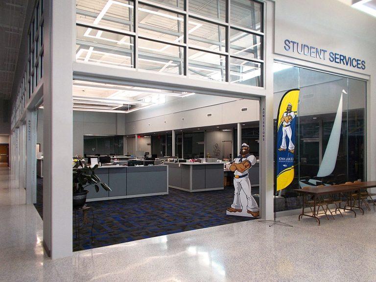 Interior open garage door to offices