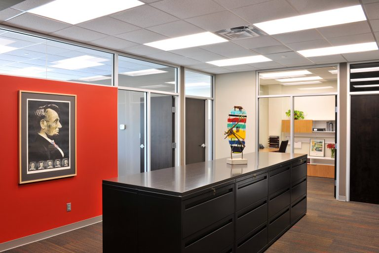 Office interior looking into individual offfices
