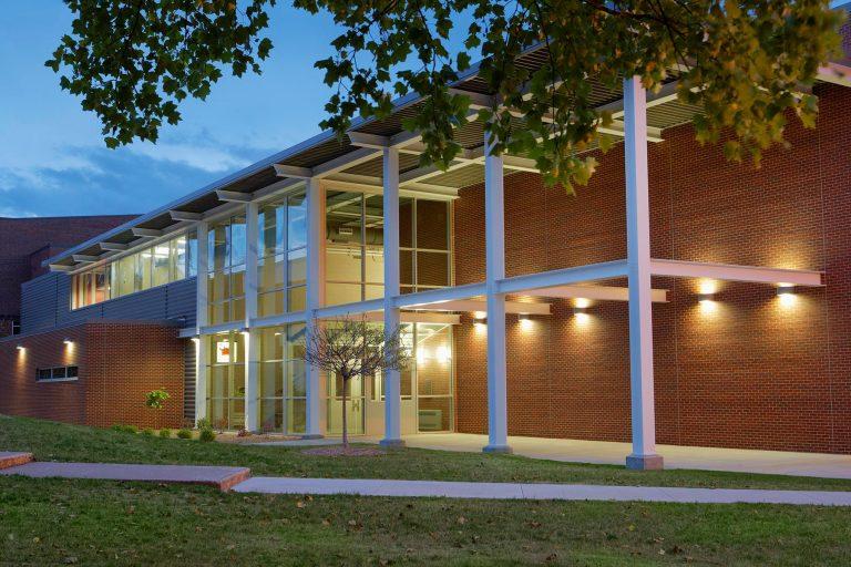 Exterior at dusk highlighting entry