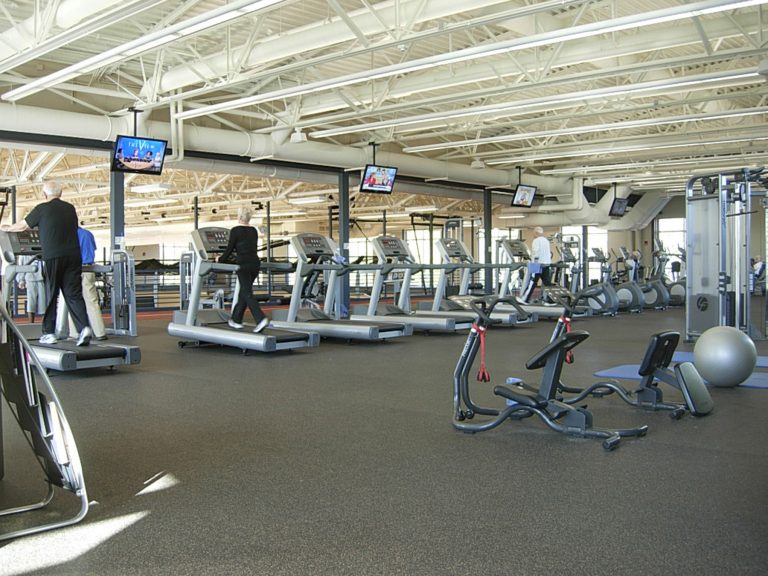 Weightroom with treadmills