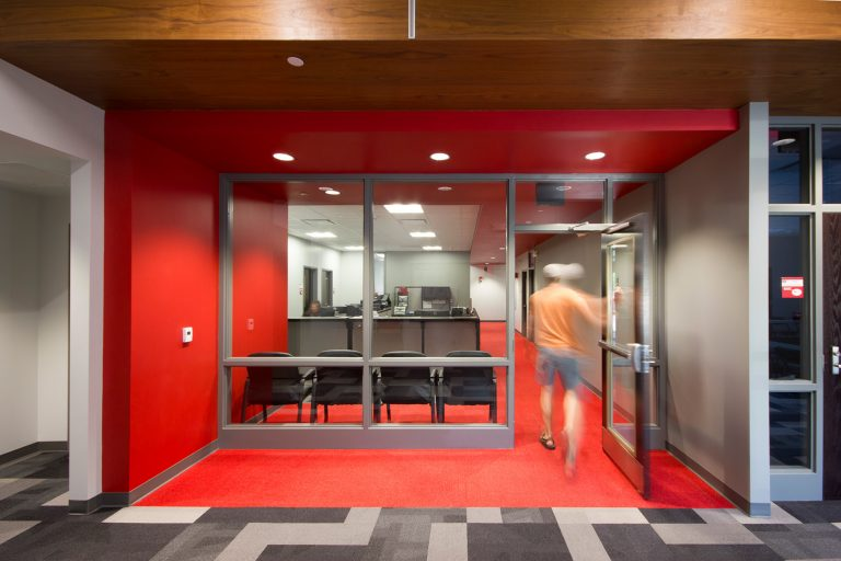 Looking into office entrance