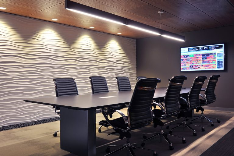 Conference room with textured accent wall