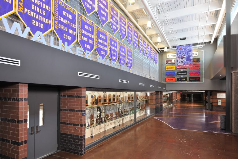 Hall showcasing champion banners