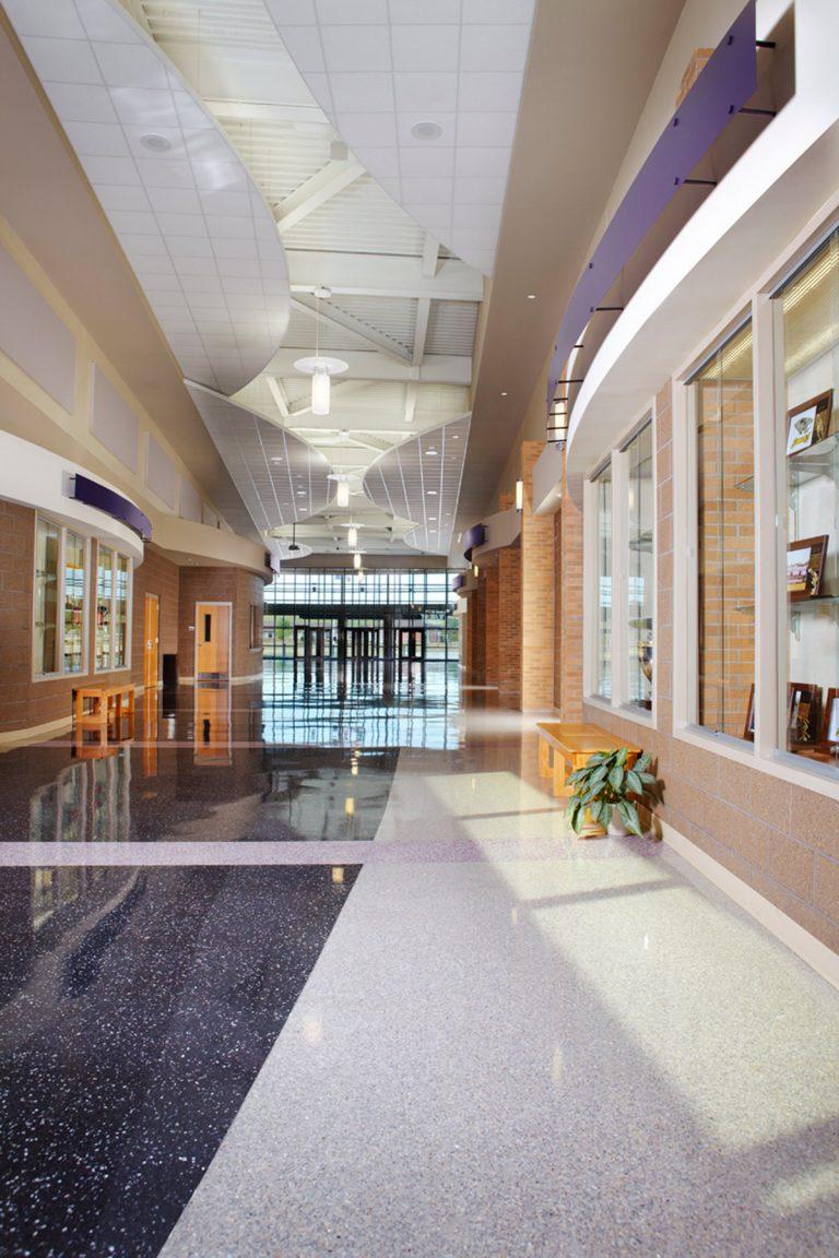 Interior main hallway with display cases
