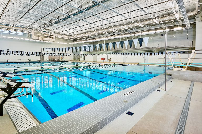 Pool overall showing spectator seating