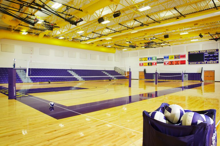 Gymnasium set up for volleyball
