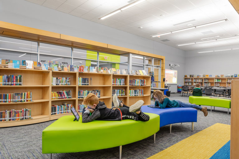 Books and soft seating in media center