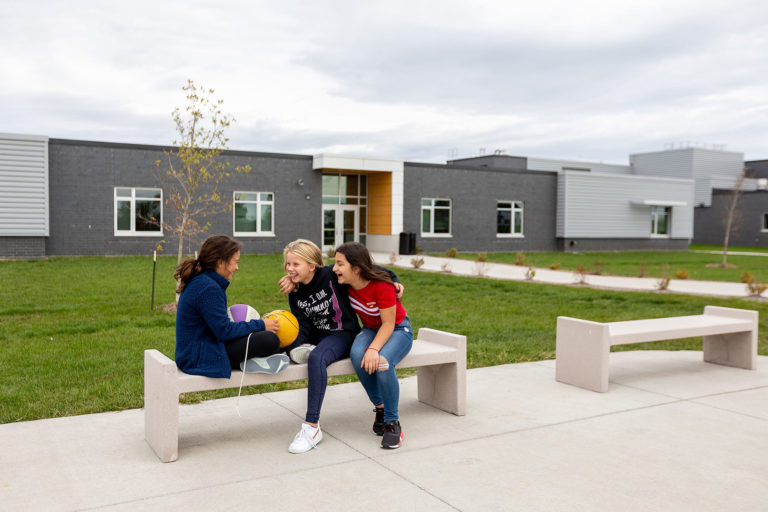 Students on a bench outside