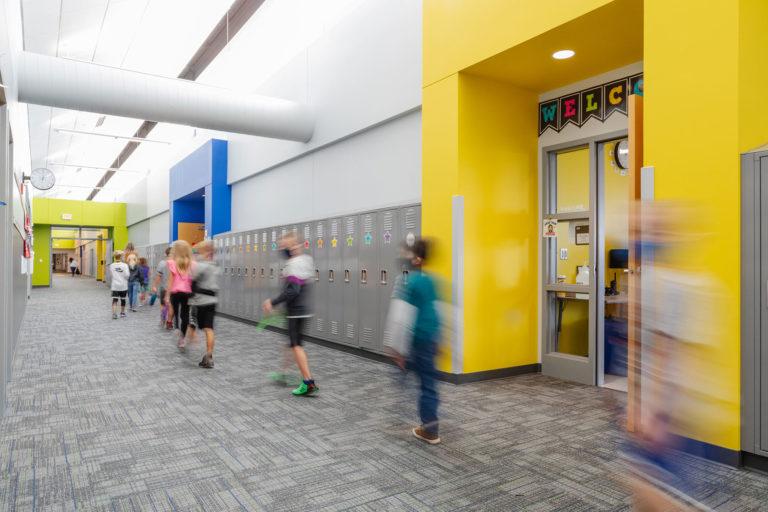 Corridor with multi-colored entryways