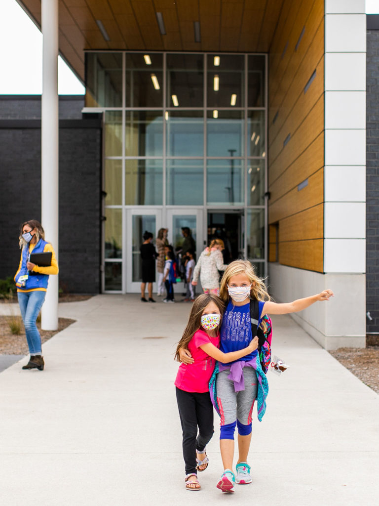 Exterior entry with students